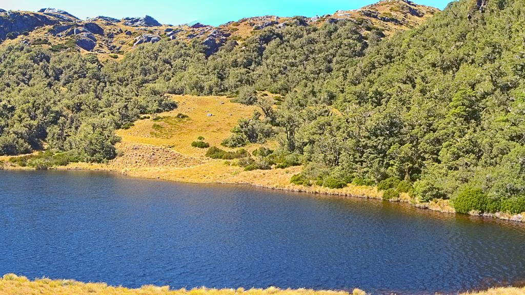 Lake Laffy just before Lake Roe Hut, panorama excerpt