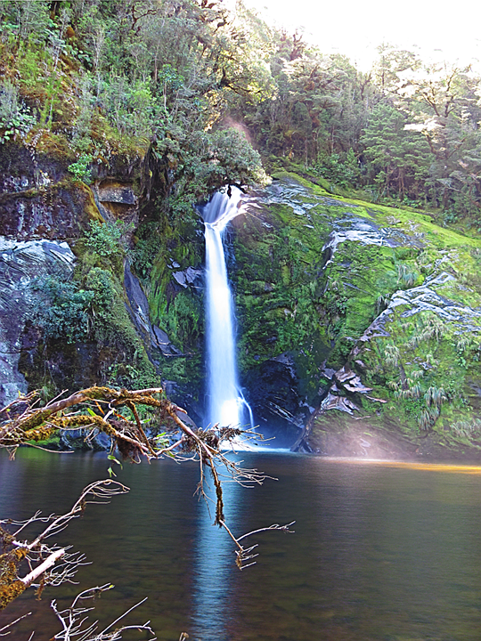 Hilda Burn Falls, median/aligned composite of 41 images, note the differences, especially around the water surface