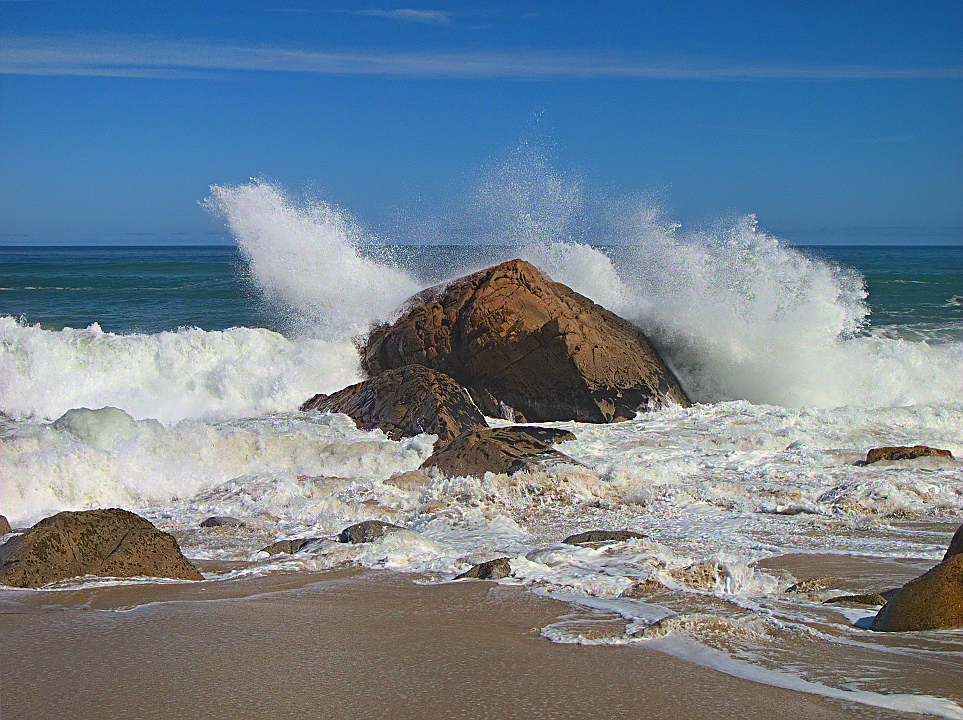 Waves crashing on the Granite Beach