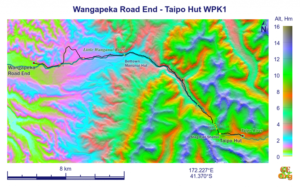 Wangapeka Road End - Taipo Hut, ground track