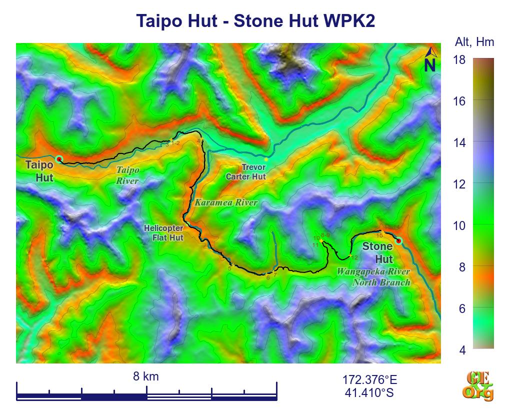 Taipo Hut - Stone Hut, ground track